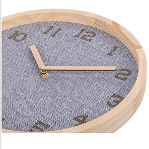 Wall Clock Modern Wooden frame Gray Burlap Fabric
